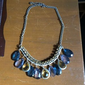 Blue and Gold Statement Necklace (EUC)
